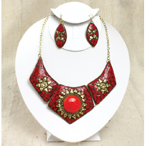 Ruby Red Sun Jewelry Set